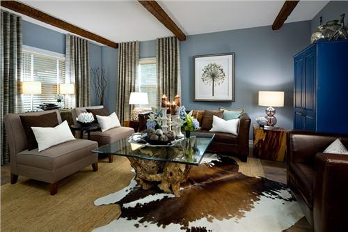 brown and blue interior color schemes for an earthy and elegant room, Living Room/