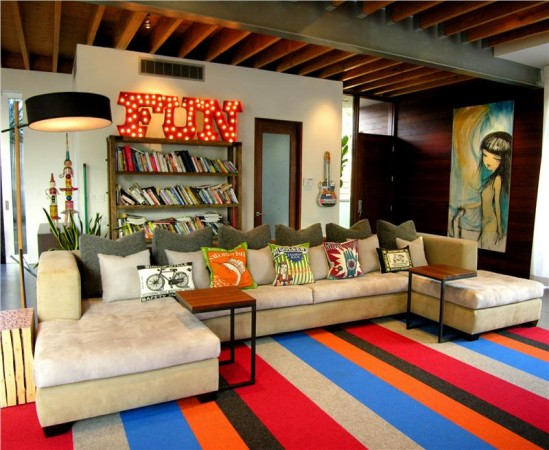 Color is highlighted with the rug