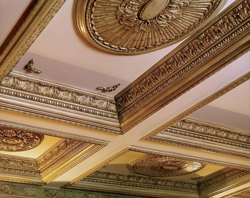 The coffered ceiling for architectural enhancement for Decorative millwork accents