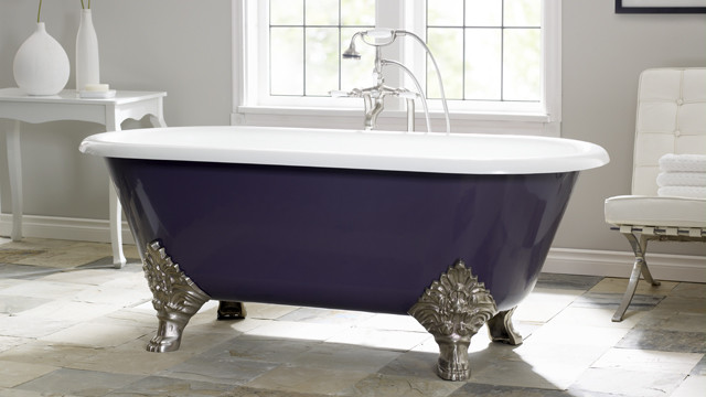 Purple clawfoot tub is elegant and unique