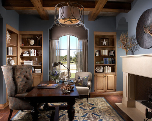 Handsome office in brown and blue