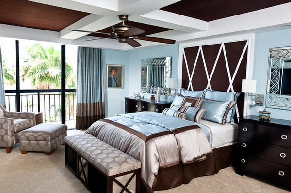 Brown and blue interior color schemes for an earthy and elegant room Brown and green master bedroom ideas