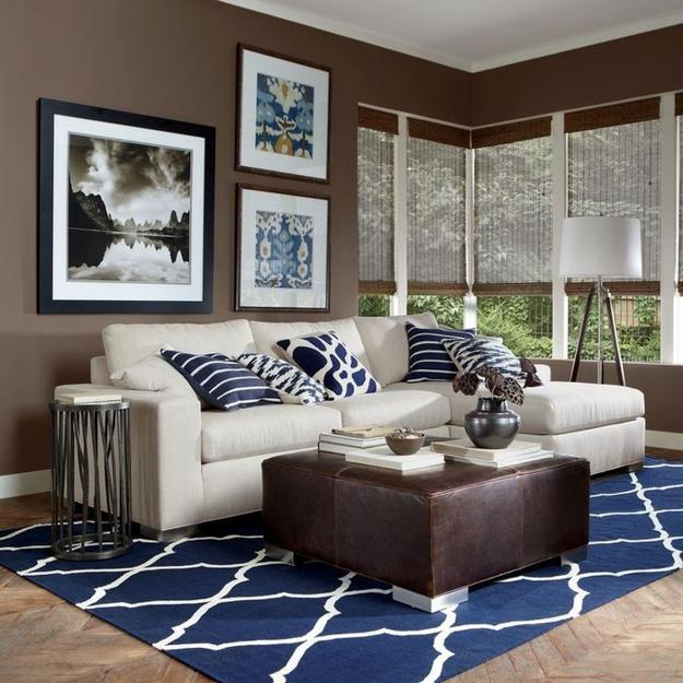 Brown and blue interior color schemes for an earthy and Brown wall color living room