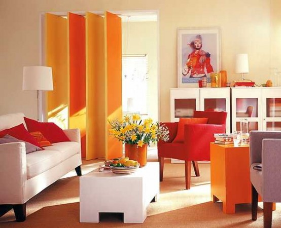 Lovely shades of orange keep this room bright and cheerful
