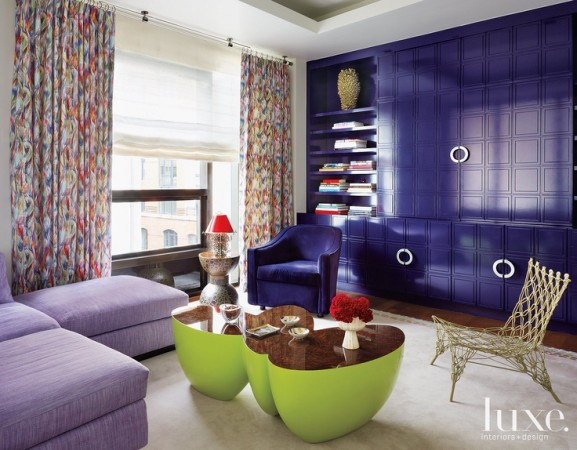 Designer Jamie Drake's brilliant use of color shines in this living room