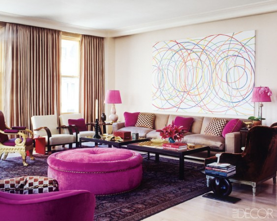 Fuchsia and purple ignite the color in this Jamie Drake living room