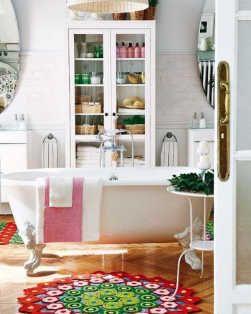 Charming eclectic bathroom with vintage clawfoot tub