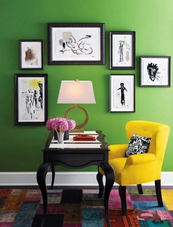 Apple green walls provide the perfect backdrop for artwork