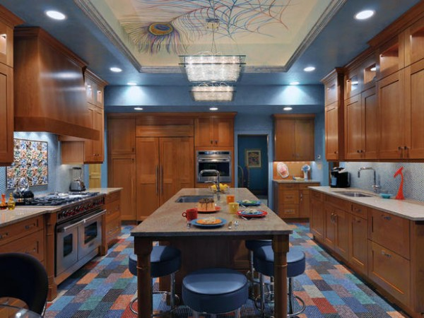 Blue kitchen has wonderful color and accents