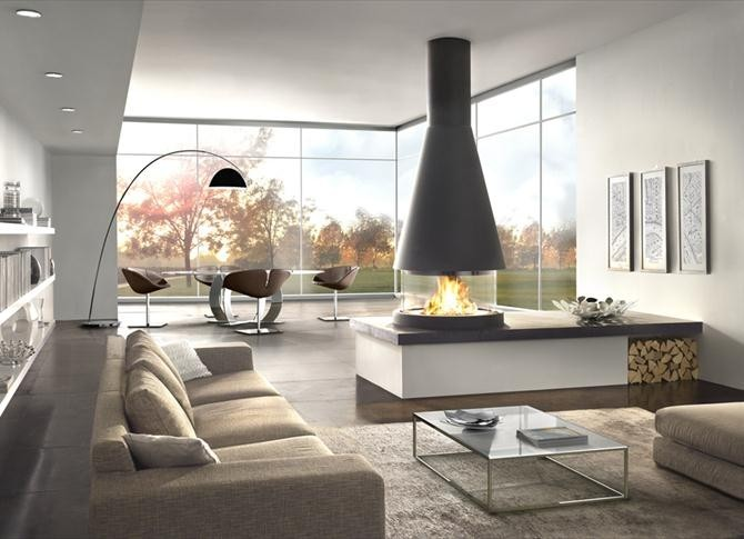 ... Stunning Modern Living Room With An Amazing Fireplace Part 95