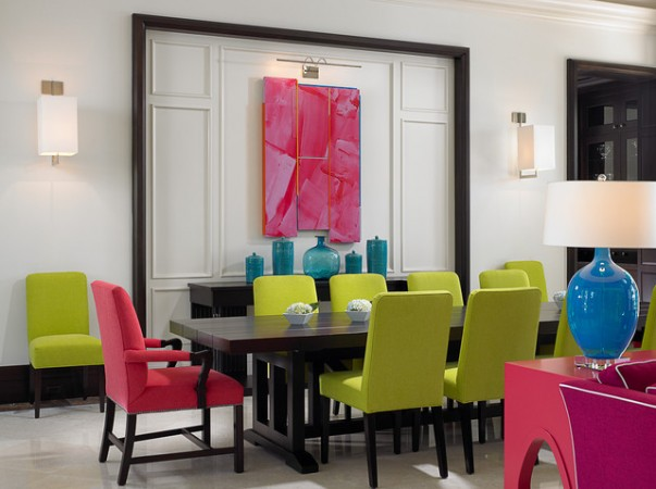 A mix of vivid colors dominate this dining room