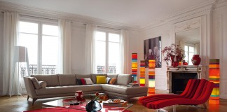Bright colors enliven this living room
