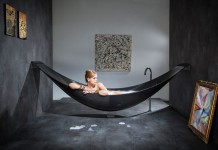 bathtub Vessel produced by the designer Splinter Work and shaped as a hammock