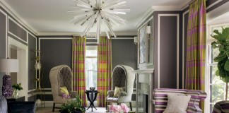 Conveying the striped theme throughout the room with a variety of widths and colors