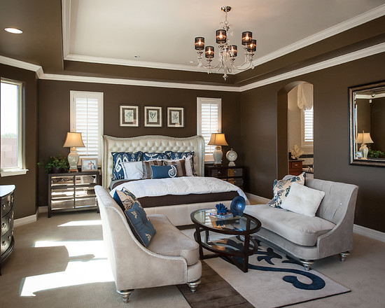 Beautiful brown walls highlighted with white trim and pops of blue