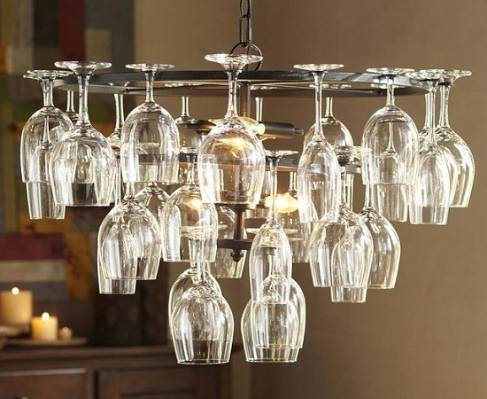 DIY chandelier made with upside down wine glasses