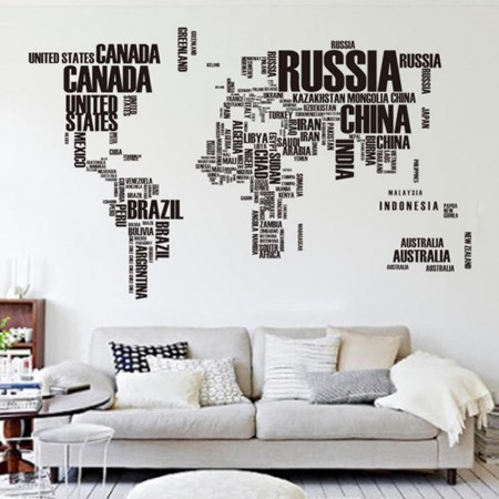 World Map wall sticker for a modern and stylish living room