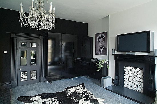 Black and white interior is dramatic and sophisticated