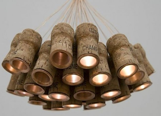 amazing DIY chandelier created with recycled cork caps