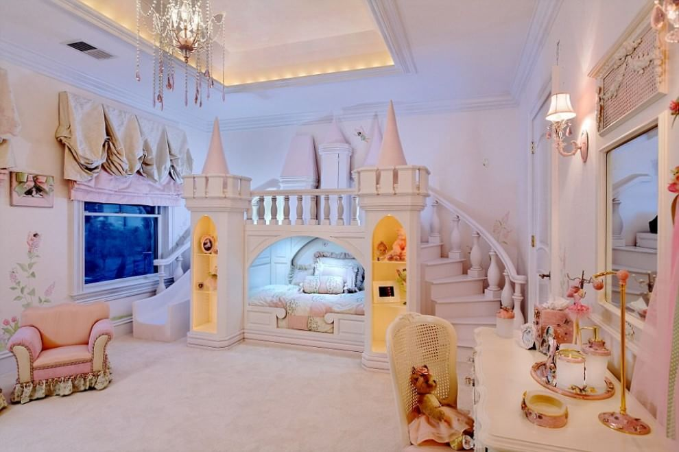 amazing girls bedroom shaped as a castle