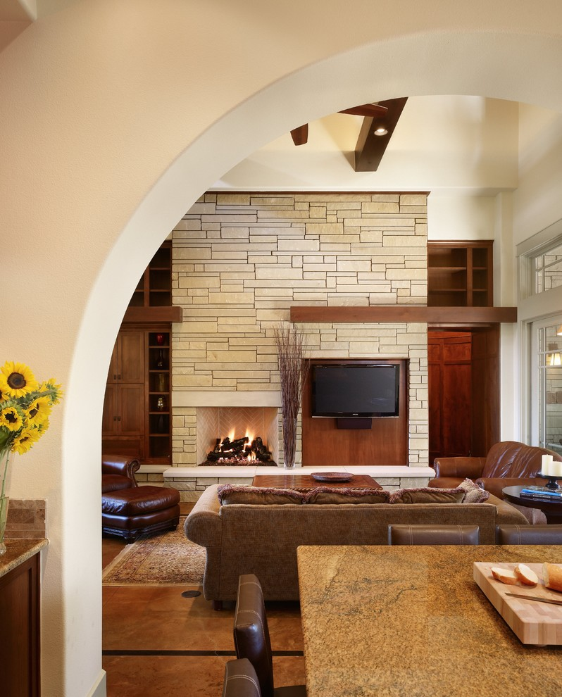 Heat up your fireplace with a stylish mantel - Living room with fireplace ...