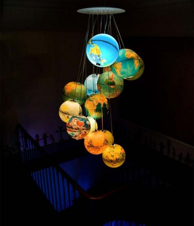beautiful DIY chandelier created with recycled globes