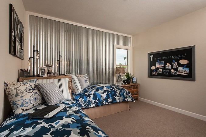 Corrugated metal wall is unexpected shimmer to this room
