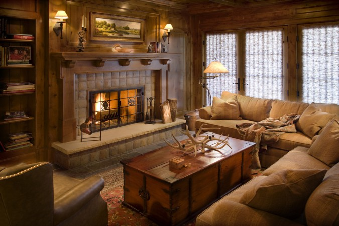 A cozy corner in this lodge interior