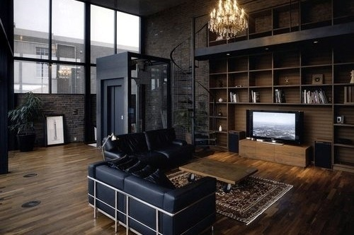 Dark and elegant masculine industrial interior