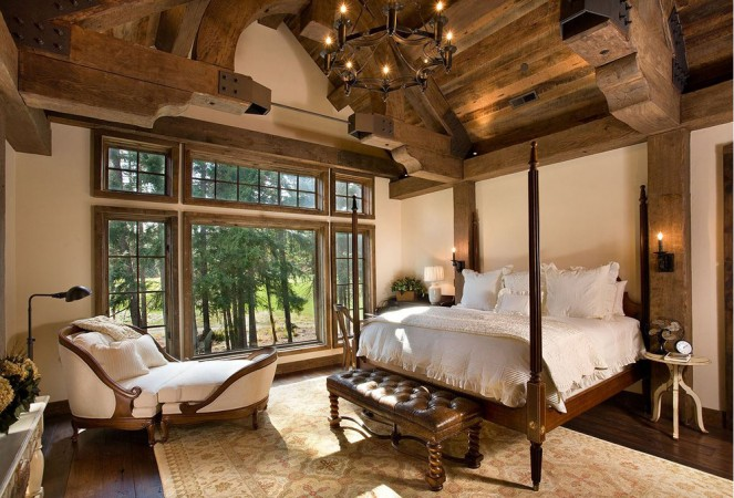 Gorgeous architecture and lavish views enhance this lodge bedroom