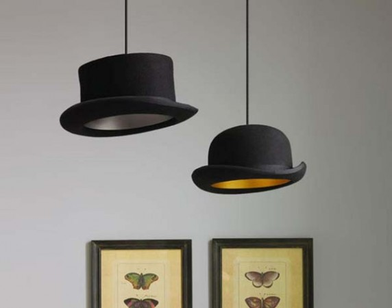 cool DIY chandelier made with recycled hats