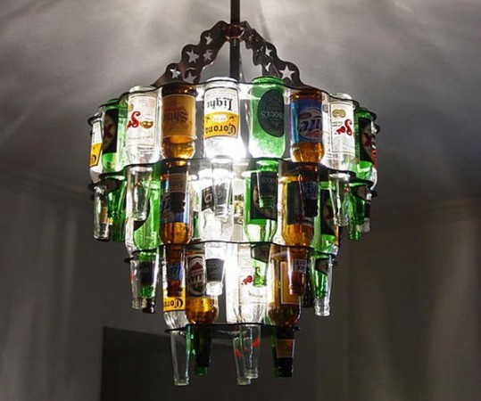 creative DIY chandelier made with hanging wine bottle