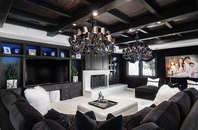 Dramatic black and white living room