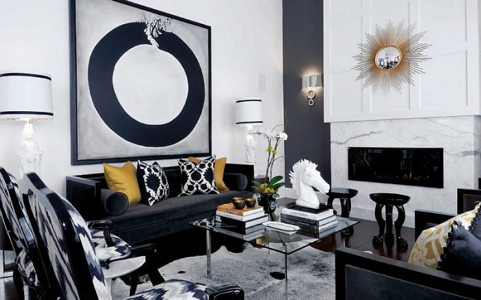 Chic and sophisticated black and white interior