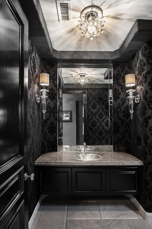 Elegant black powder room