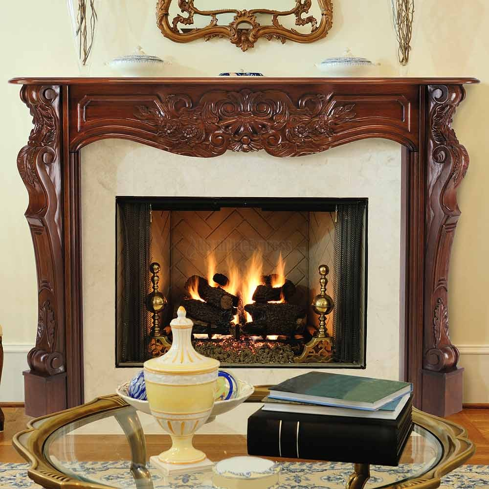 Carved Wood Mantel Dresses Up The Fireplace