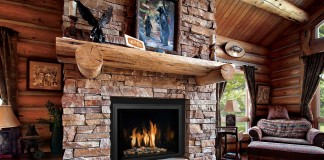 Rustic wood mantel gives proportion to fireplace