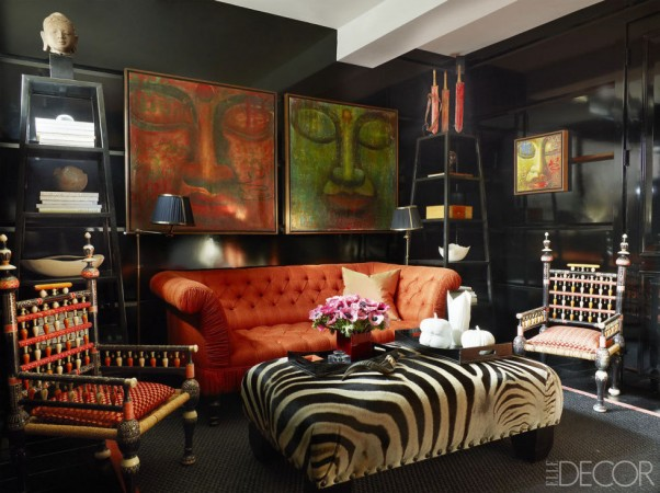 Black walls are a dramatic backdrop for art