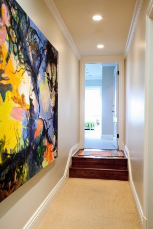 enhance the decor of small hallways with an artwork