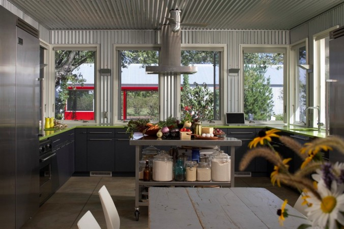 Corrugated metal enhances this modern kitchen