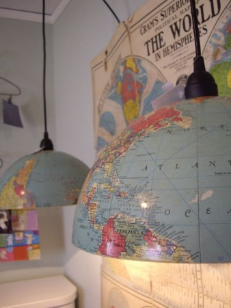 funny DIY chandelier made with glob maps