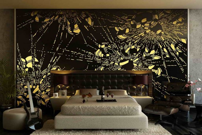Dramatic black and gold wall