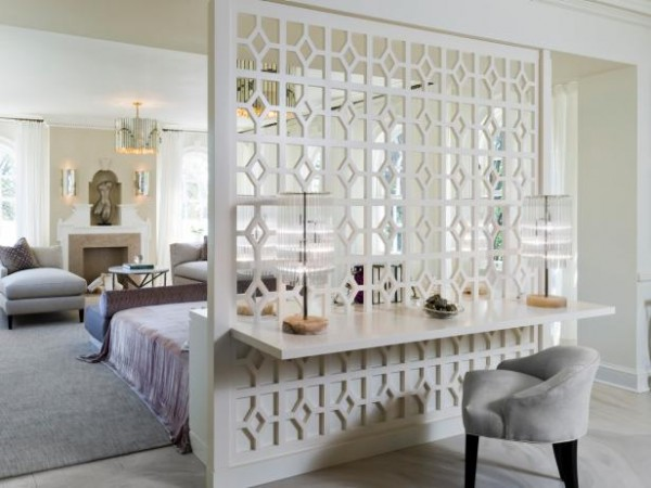 Patterned wood partition is stylish and functional