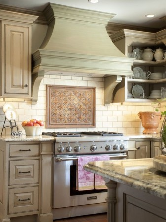Traditional wood range hood cover