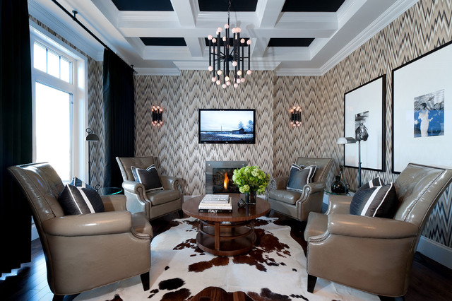 Black accented ceiling and window treatments add sophistication and drama