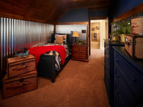 Corrugated metal trim boosts this bedroom