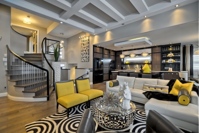 Black and yellow living room is sophisticated and chic