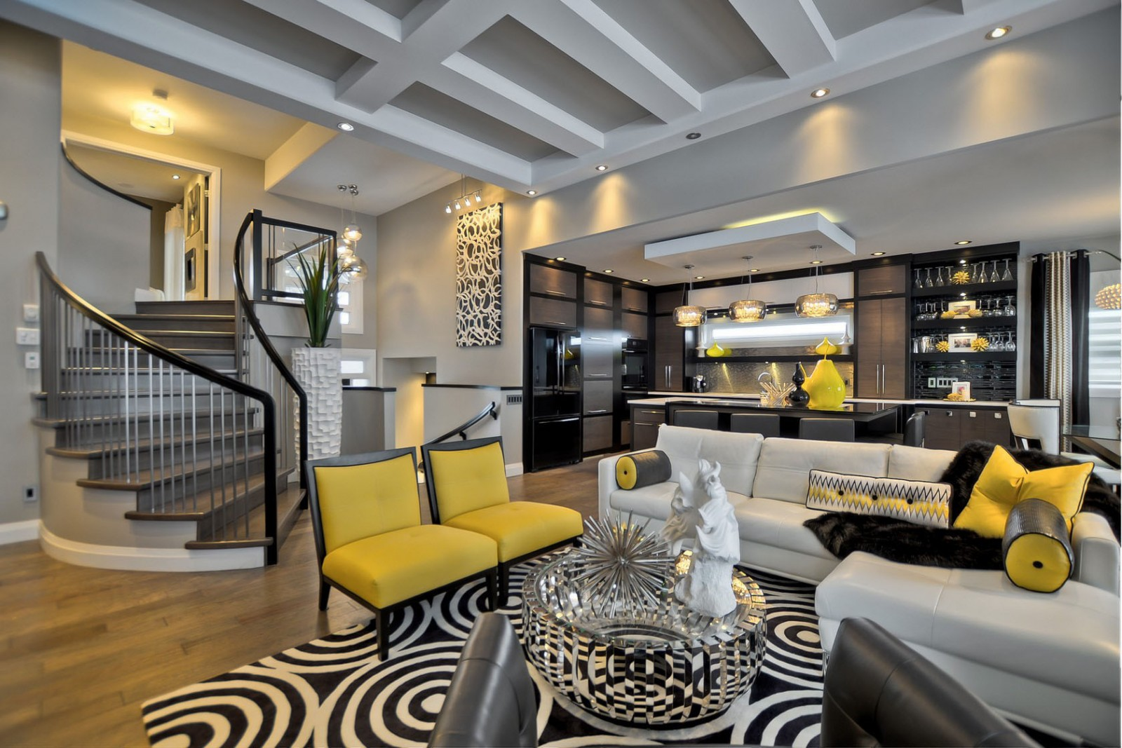 How to add black to your interiors for sophisticated style for Interior design living room yellow