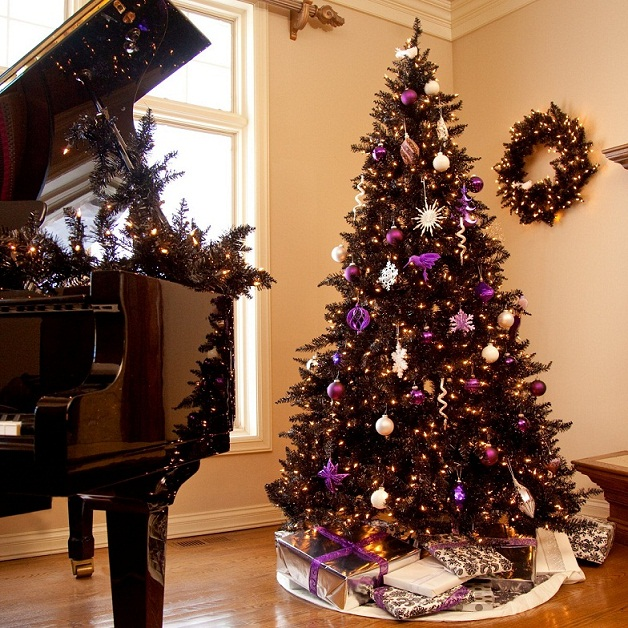 alternative christmas tree colors - Purple And Gold Christmas Decorations