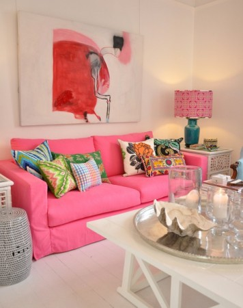 Fresh, feminine living room designed by Jonathan Adler